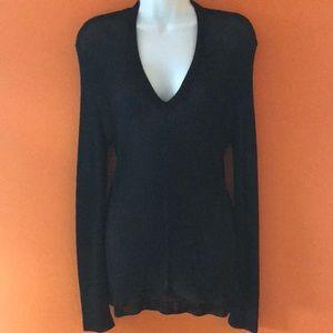 New Calvin Klein V-Neck Black Knitted Top L